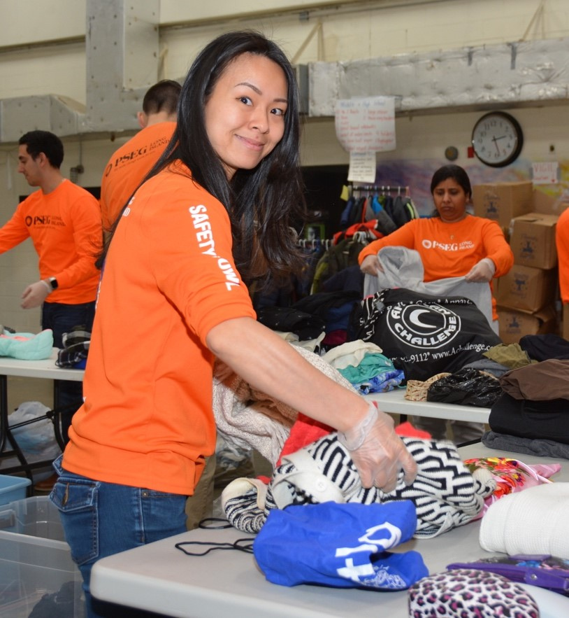 PSEG Long Island volunteer Linda Zhang of  Bethpage, helped to sort 20 bags of clothing donated by her and fellow PSEG Long Island employees to the LI Coalition for the Homeless. The donation was a result of company-wide participation in the Marie Kondo Challenge honoring the traditional Lunar New Year spring cleaning.