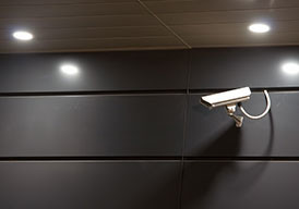 security camera pointed down a corridor