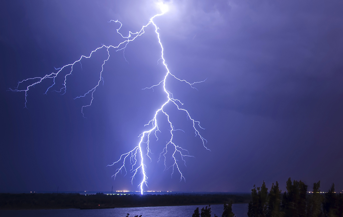 Lightening strike at night